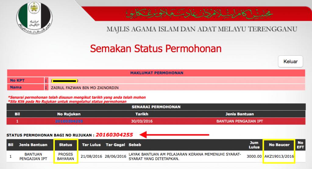 MAIDAM - Bantuan Pengajian IPT Zairul - LULUS - Update 24082016